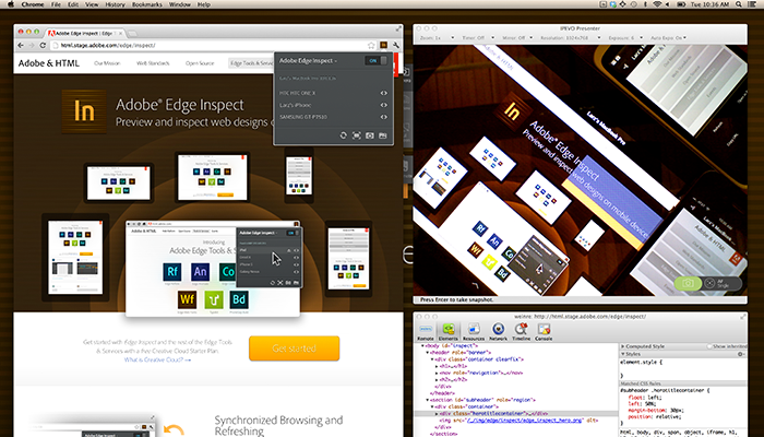 Edge Inspect is an essential application for web developers and designers who need to preview their content across multiple mobile devices. Wirelessly pair multiple iOS and Android devices to your computer, grab screenshots from any connected device, and see real-time results from changes to HTML, CSS, and JavaScript.