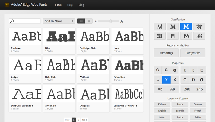 With contributions from Adobe, Google, and designers around the world, Edge Web Fonts provides a vast library of free web fonts for use on your websites. The fonts are served by Typekit, so you can be sure of high performance and stability. You can easily add the fonts to your web projects via integrations with other Adobe products.
